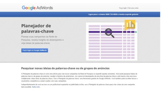 Google possui muitas ferramentas free para auxiliar quem trabalha na web, uma delas é o planejador de palavra chave, que é uma ferramenta do Adwords para pesquisa de palavra-chave