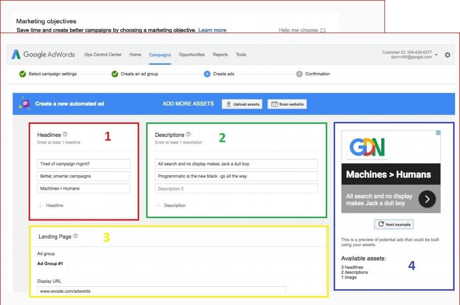 Veja o novo fluxo de construção criativa nas campanhas de Smart Display, do Google Adwords.